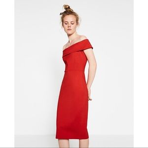 Zara Dresses - Zara Love Red Off The Shoulder Bodycon Tube Dress